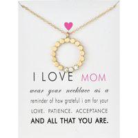 J'adore maman Circle Pendentif Colliers Coukers avec Carte Gold Silver Cz Colliers Chaîne pour Femmes Bijoux de mode pour cadeau de la fête des mères