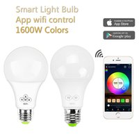 6.5W inteligente Lâmpadas LED Mobile Phone APP Light Control Bluetooth Bulb sem fio E27 escurecimento Universal 85V-265V luzes de bulbo