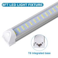 재고 미국 + 주도 튜브 120W 통합 T8 라이트 튜브 LED가 빛을 8 피트 8피트 더블 사이드 384LEDs 6800 루멘 AC 110-277V