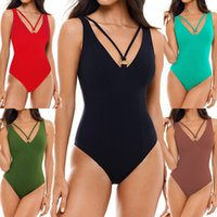 2020 New Sexy V Neck Beachwear Women Solid Color Swimsuit Ba...