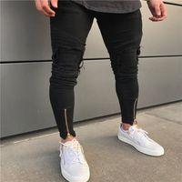 Masculino jeans motociclista knee proteção designer negro homens casuais macho calças magras motocicletas de alta qualidade lado fecho de zíper lateral