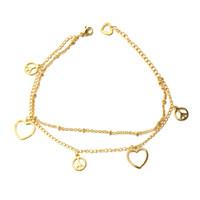 Nuevos productos de moda en oro 14k del corazón pulsera de acero inoxidable Nunca pierda la muestra de paz del color del encanto del símbol Pulsera de oro pulsera de las mujeres