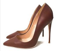 2019 Mode Neue Yaguang Caramel Tip Hochhackige Mädchen Feinhackige Braun Elegante Einzelne Schuhe 12 cm 44 YardsProfessionelle High Heels