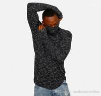 Tshirts Turtleneck Kış Sonbahar Siyah Hiphop Uzun kollu Tasarımcı Giyim Erkek dibe Basic Tops