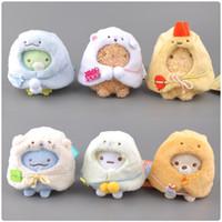 6 unids / lote 9cm San-X Pelush Sumikko Gurashi Keychain Colgante de peluche de juguete para regalos infantiles