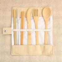 7 unids / set Juego de cubiertos portátiles de bambú Juego de cubiertos de viaje al aire libre Cuchillo Palillos Tenedor Cuchara Vajilla con bolsa de lona HHAA615