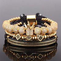 3 pcs / conjunto Pulseira de pares / grânulos de aço inoxidável / coroa / para amantes / pulseiras para mulheres homens luxo jóias homem pulseira presente do dia dos namorados