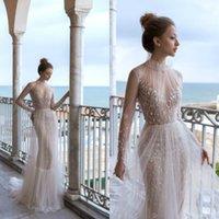 2020 Sexy Doria Karlozi Wedding Dresses With Overskurs High Collar Sleeve Abiti Da Sposa Lunch Train A Line Tulle Bride Dress