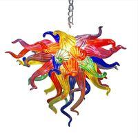 LED Dekorative Lampe Multicolor Blume Kunst Anhänger Licht Store Zimmer Dekor Hand Geblasenes Glas Langkette Anhänger Lichter Deckenleuchten