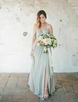 Sage Boho Bridemaid Dresses 2019 우아한 긴 웨딩 게스트 드레스 쉬폰 오프 어깨 측면 분할 플러스 사이즈 하녀의 명예 가운