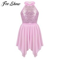 Kids Sequined Ballet Leotard with Irregular Chiffon Skirt Set Girls Figure Ice Skating Dress for Performance Competition Costume
