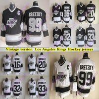 Men's Los Angeles Kings Version Vintage Jerseys 99 Gretzky 32 Hrudey 16 Dionne 33 Mcsorley 20 Robitaille CCM Jersey de hockey