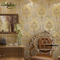 ورقة حائط الكلاسيكية ديكور المنزل خلفية دمشقي الذهبي الزهور تغطي 3D المخملية جدران غرفة المعيشة