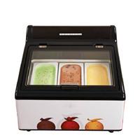 ENVÍO GRATIS 3 sartenes mesa Gelato Ice Cream Display eléctrica encimera presentación de productos congelados de frutas Gelato Escaparate Armarios