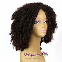 Fashion Afro Synthetic Hair Wig Glueless Black Color Curly W...
