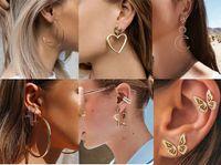 Sokak Stili Geometrik Uzun Bırak Küpe Kalp Yıldız Moom Kulak Stud Geometrik Küpe Gelin Parti Takı Kadınlar Bohemian Küpeler