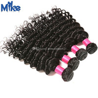 MikeHAIR 100% Human Hair Extensions Wholesale No Tangle No Shed Peruvian Indian Malaysian Brazilian Deep Wave Curly Hair Weaves 4Pcs Lot