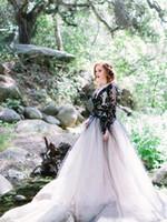 2019 White and Black mangas compridas renda vestidos de noiva boho v pescoço puro tule applique backless país nupcial vestidos de casamento H062