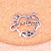 46pcs Charms Heart Mom 26 * 24mm Antique Fabbricazione del pendente in forma, argento tibetano d'epoca, gioielli fatti a mano fai da te