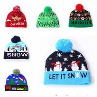 Led Halloween chapeaux tricotés chapeaux d'Halloween pour enfants décorés bébé mamans hiver chaud Crochet Caps Beanies Party accessoires cadeaux LXL133L