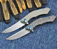 Shirogorov 95 luna azul de la manija D2 lámina TC4 Titanium herramientas plegables que acampan supervivencia al aire libre de caza 02120-02109