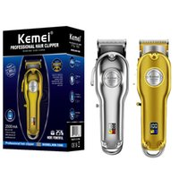 hairclippers Kemei 1986 All-Metall Barber Professional Hair Clipper Elektro Cordless LCD-Haar-Trimmer Gold Silber Haarschneidemaschine Mower