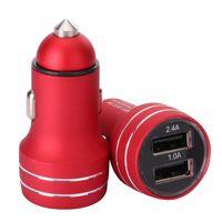 5V 2.4A del cargador del coche de metal de aleación de aluminio de carga rápida Adaptador de 18W adaptador dual de puertos USB para el iPhone Samsung