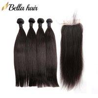 Brazilian humano trama 4 pcs com 1 pc top fechamento sedosa extensões de cabelo de seda dupla trama não transformada cabelo virgem pacotes Bella cabelo