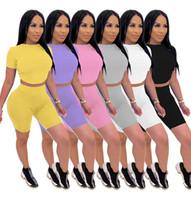Womens Designer Tracksuits Solid Color Open Back Tie Short Sleeve Shorts Zweiteiler Weibliche Kleidung