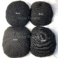 Herren Perücke 4mm / 6mm / 8mm / 10mm / 12mm Afro Hair Stücke Welleneinheit Vollspitze Toupee Indische Jungfrau Menschliches Haar 360 Wellenförmige Haarersatz