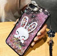 Bling iPhone Para o Caso líquido Glitter dinâmico Quicksand xs max xr X diamante Casos Coelho bonito de telefone com cordão