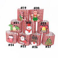 Weihnachten Serviettenringe 27 Arten Kunststoff Strass-Verpackungs-Ring-Stuhl Buckle Hotel Hochzeit Party Supplies OOA7268-2