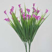 Plástico flores decorativas cala de simulación de los colores brillantes duradero insípido Eco Friendly de flores de seda nueva llegada 2 1WM E1