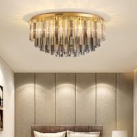 거실 침실 서재를 위한 새로운 디자인 현대 호화스러운 둥근 D80cm x H35cm 수정같은 샹들리에 빛 led 황금 천장 램프