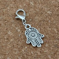 100Pcs / lots Antique silver Charms Hamsa avec fermoir mousqueton Fit Charm Bracelet DIY Bijoux 12.2x32mm A-377b