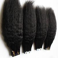 """Garote de cabelo humano de Yaki em Remy Extensões de Cabelo Humano Invisível Duplo Dupla Pele De Pele De Pele Kinky Straight 16 """"20"""" 24 """"Devista80 Peça"""
