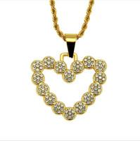 Nouvelle personnalité de la mode européenne et américaine hip-hop personnalité masculine pendentif coeur de pêche collier incrusté de diamant alliage boutique collier Pe