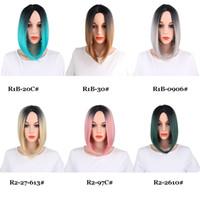 13inch recto sintéticos Bob Estilo pelucas 160 g / pieza frontal pelucas Medio Parte de la rayita de encaje 150% de fibra de densidad Diferentes Colores