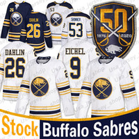 Buffalo Sabres 50e Patch Golded Jersey 9 Jack Eichel 53 Jeff Skinner 26 Rasmus Dahlin Domicile Extérieur Blank Maillots de hockey masculin