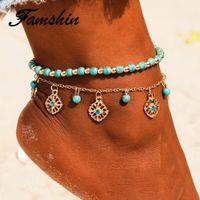 FAMSHIN Bohême creux Fleurs Bleues Pied Bijoux Double Perles Summer Beach Bracelets de cheville Bracelet cheville turque pour les femmes Anklet
