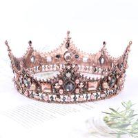 Barok Retro Lüks Gelin İnci Kristal Çelenkler Taçlar Sarayı Prenses Kraliçe Yarışması Balo Yapay elmas Veil Tiara Düğün Saç Aksesuarları