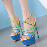 16cm Cenice letter bands blue green cross strappy platform u...