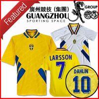 كأس العالم 1994 السويد ريترو لكرة القدم جيرسي المنتخب الوطني المنزل 94 Camisetas Dahlin Brolin Larsson قمصان كرة القدم الكلاسيكية