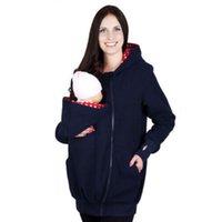 Maternidad porta bebé canguro con capucha del invierno de las mujeres de la chaqueta informal caliente mamá de abrigo capa encapuchada de paquetes