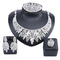 Luxe Nigeria Collier Femme de mariage sets de bijoux Chunky Boucles d'oreilles Bangle Bague nuptiaux Dubaï bijoux en or