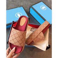 Kadın Orijinal Slide Sandal Tuval Platformu Terlik Gerçek Deri Bej / tuğla Kırmızı 3 Renk Plaj Slaytlar Terlik Açık Partisi Sandal