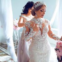 샴페인 레이스 탈착식 기차 아랍어 두바이 웨딩 드레스 높은 목 긴 소매 아플리케 인어 인어 웨딩 드레스 구슬 신부 드레스