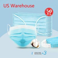 US Warehouse Ship! 3- layers Nonwoven Disposable Face Masks D...