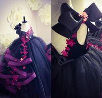 2020 Crystals bonito Backless Sexy Lace Flower Girl Vestidos Tulle vestido de baile Pouco casamento menina vestidos vintage Pageant Vestidos Vestidos