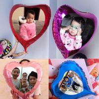 24inch 60cm kalp balon özel fotoğraf / balonlar düğün dekorasyon olay parti malzemeleri folyo resim baskı helyum desteği